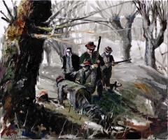 5 Jäger und ein Hund in Erwartung eines Karnickels