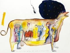 Porträt einer gelben Kuh mit Wolkenperücke