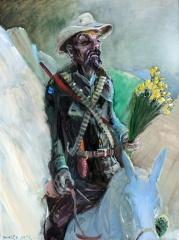 Cowboy mit Sierra Nevada Narzissen